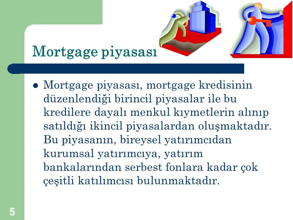 5 Mortgage piyasası  Mortgage piyasası, mortgage kredisinin düzenlendiği birincil piyasalar ile bu kredilere dayalı menkul kıymetlerin alınıp satıldı