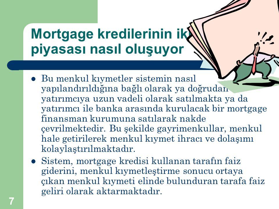 7 Mortgage kredilerinin ikincil piyasası nasıl oluşuyor  Bu menkul kıymetler sistemin nasıl yapılandırıldığına bağlı olarak ya doğrudan yatırımcıya u
