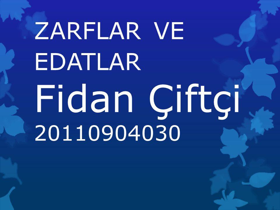 ZARFLAR VE EDATLAR Fidan Çiftçi 20110904030
