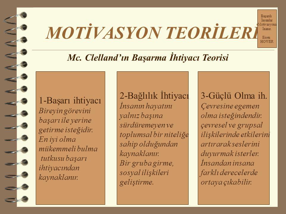 MOTİVASYON TEORİLERİ 1-Motive edici faktörler: İşin kendisi İlerleme imkanları, Sorumluluk,statü, Başarma, Tanınma 2-Hijyenik faktörler İşletme politi