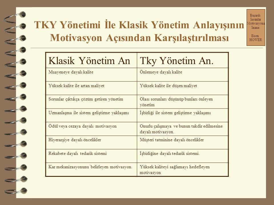 TKY Yönetimi İle Klasik Yönetim Anlayışının Motivasyon Açısından Karşılaştırılması **TKY anlayışında; Tky de katı ve değişmez bir standart yoktur.Tky