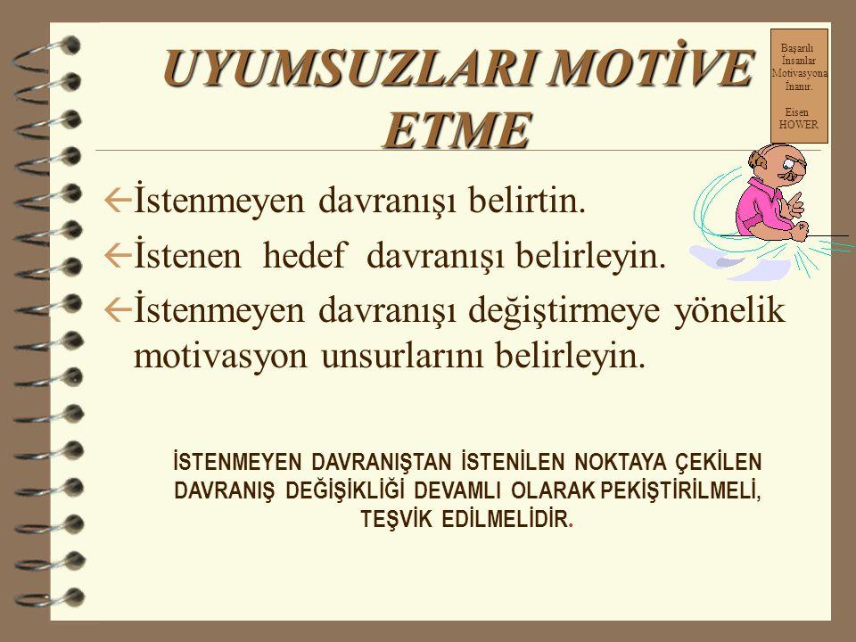 Uyumsuzları Motive Etme 1-Negatif Motivasyon2-Pozitif Motivasyon Daha çok ceza algılanır Daha çok ödül algılanır Daha çok ödül algılanır. Araştırmalar