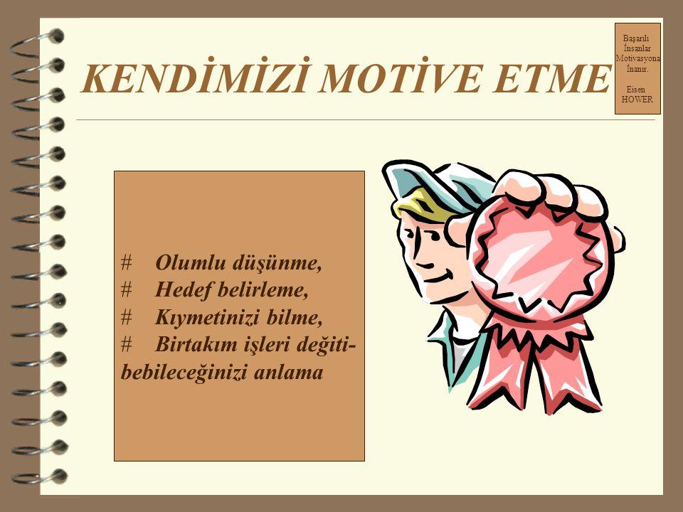 KENDİMİZİ MOTİVE ETME Başarılı İnsanlar Motivasyona İnanır. Eisen HOWER