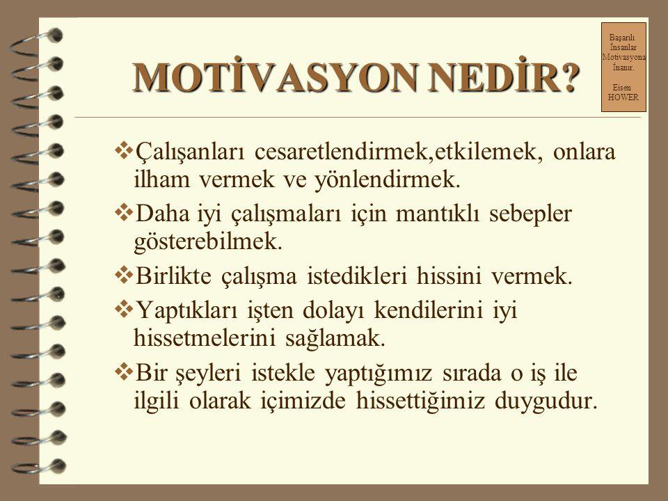 EKİPLERİ MOTİVE ETME Başarılı İnsanlar Motivasyona İnanır.