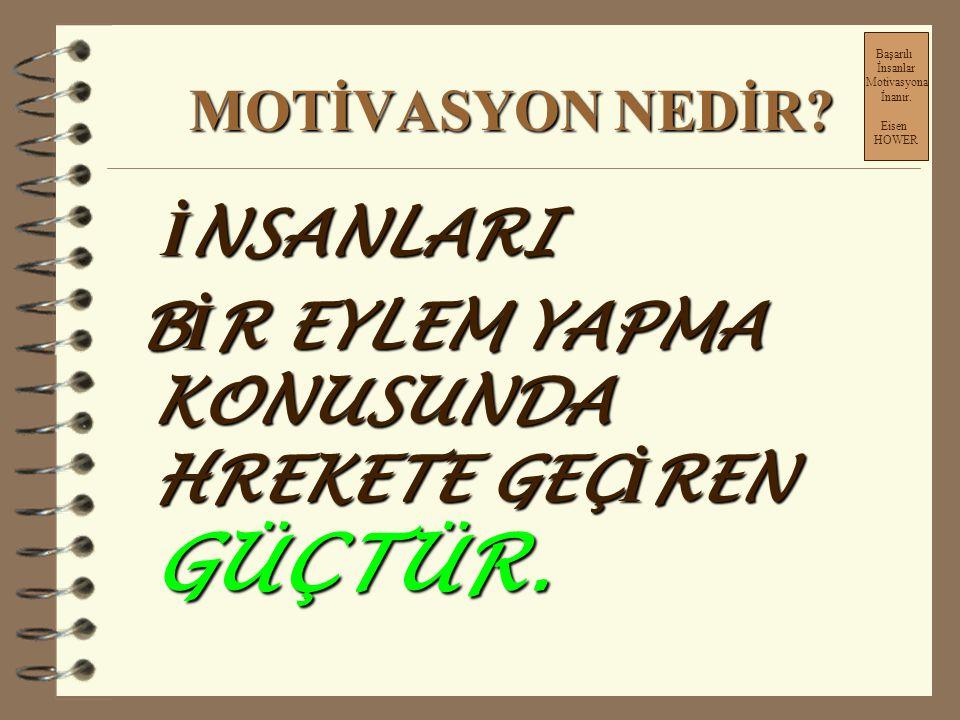 II.BÖLÜM Başarılı İnsanlar Motivasyona İnanır. Eisen HOWER