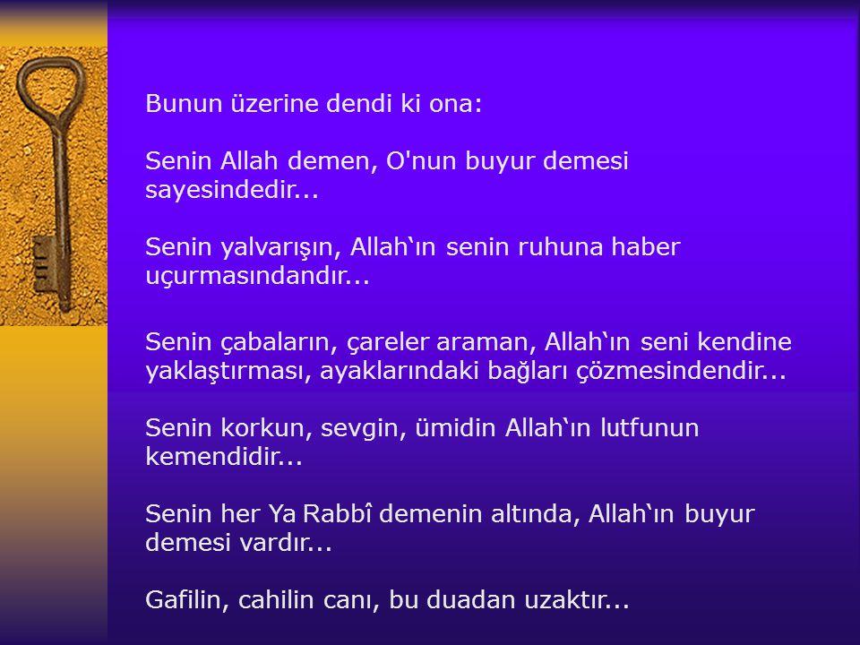Senin çabalar ı n, çareler araman, Allah' ı n seni kendine yakla ş t ı rmas ı, ayaklar ı ndaki ba ğ lar ı çözmesindendir... Senin korkun, sevgin, ümid