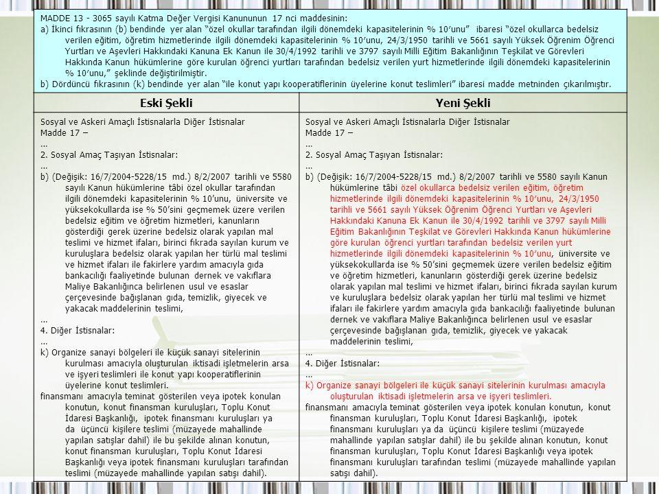 """MADDE 13 - 3065 sayılı Katma Değer Vergisi Kanununun 17 nci maddesinin: a) İkinci fıkrasının (b) bendinde yer alan """"özel okullar tarafından ilgili dön"""