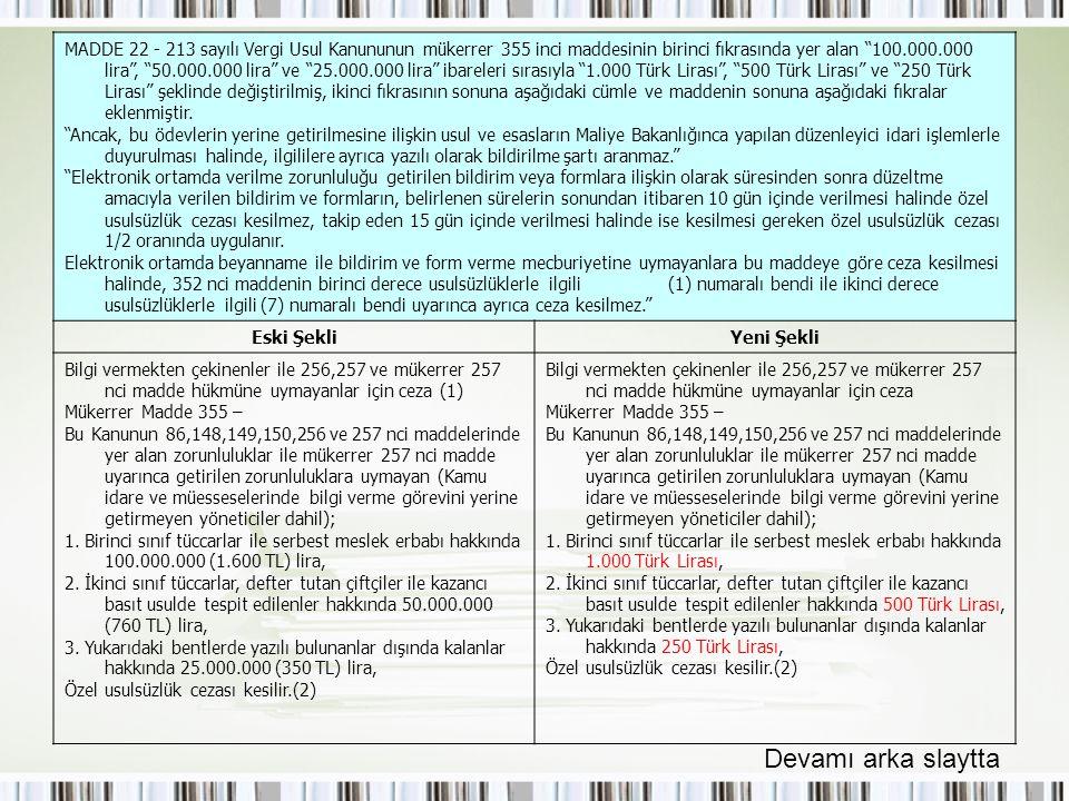 """MADDE 22 - 213 sayılı Vergi Usul Kanununun mükerrer 355 inci maddesinin birinci fıkrasında yer alan """"100.000.000 lira"""", """"50.000.000 lira"""" ve """"25.000.0"""