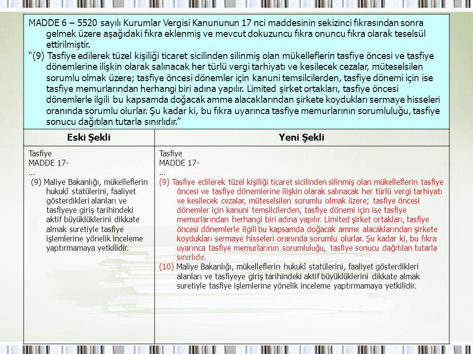 MADDE 6 – 5520 sayılı Kurumlar Vergisi Kanununun 17 nci maddesinin sekizinci fıkrasından sonra gelmek üzere aşağıdaki fıkra eklenmiş ve mevcut dokuzun