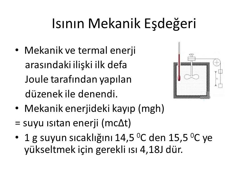 Isının Mekanik Eşdeğeri • Mekanik ve termal enerji arasındaki ilişki ilk defa Joule tarafından yapılan düzenek ile denendi. • Mekanik enerjideki kayıp