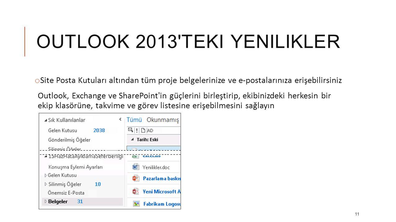 OUTLOOK 2013'TEKI YENILIKLER o Gelen Kutunuzu özelleştirin Gelen Kutusu'ndaki klasörleri yeniden adlandırın ve çalışma şeklinize uygun şekilde klasörl
