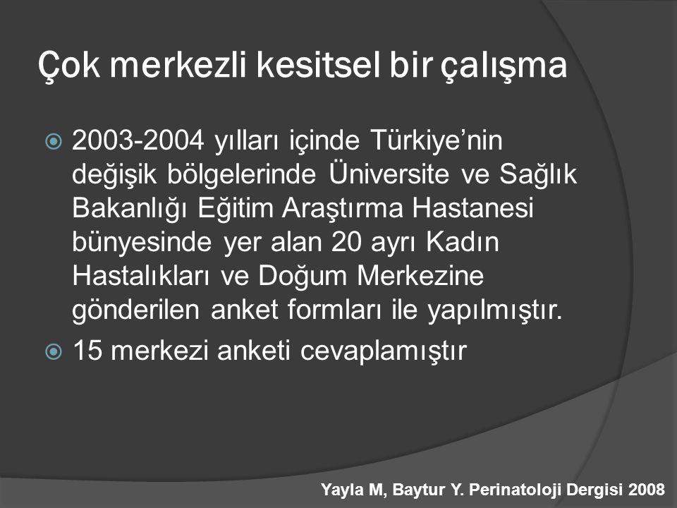 Çok merkezli kesitsel bir çalışma  2003-2004 yılları içinde Türkiye'nin değişik bölgelerinde Üniversite ve Sağlık Bakanlığı Eğitim Araştırma Hastanes