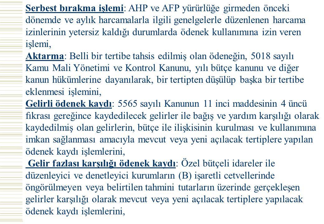 Serbest bırakma işlemi: AHP ve AFP yürürlüğe girmeden önceki dönemde ve aylık harcamalarla ilgili genelgelerle düzenlenen harcama izinlerinin yetersiz