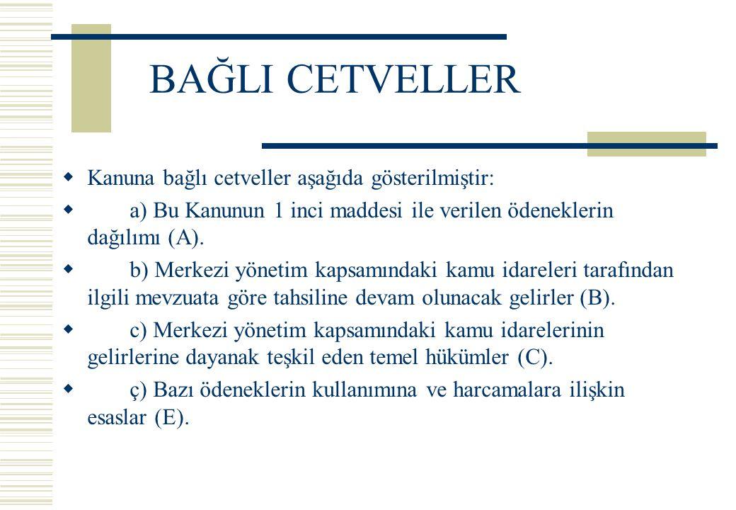 BAĞLI CETVELLER  Kanuna bağlı cetveller aşağıda gösterilmiştir:  a) Bu Kanunun 1 inci maddesi ile verilen ödeneklerin dağılımı (A).  b) Merkezi yön