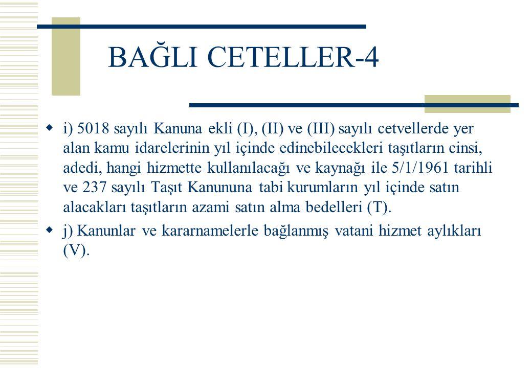 BAĞLI CETELLER-4  i) 5018 sayılı Kanuna ekli (I), (II) ve (III) sayılı cetvellerde yer alan kamu idarelerinin yıl içinde edinebilecekleri taşıtların