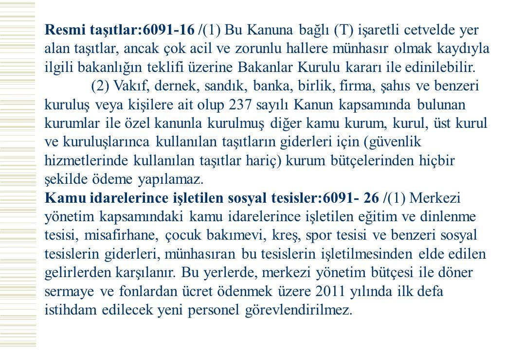Resmi taşıtlar:6091-16 /(1) Bu Kanuna bağlı (T) işaretli cetvelde yer alan taşıtlar, ancak çok acil ve zorunlu hallere münhasır olmak kaydıyla ilgili