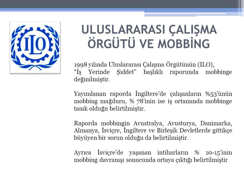 ULUSLARARASI ÇALIŞMA ÖRGÜTÜ VE MOBBİNG 1998 yılında Uluslararası Çalışma Örgütünün (ILO), İş Yerinde Şiddet başlıklı raporunda mobbinge değinilmiştir.