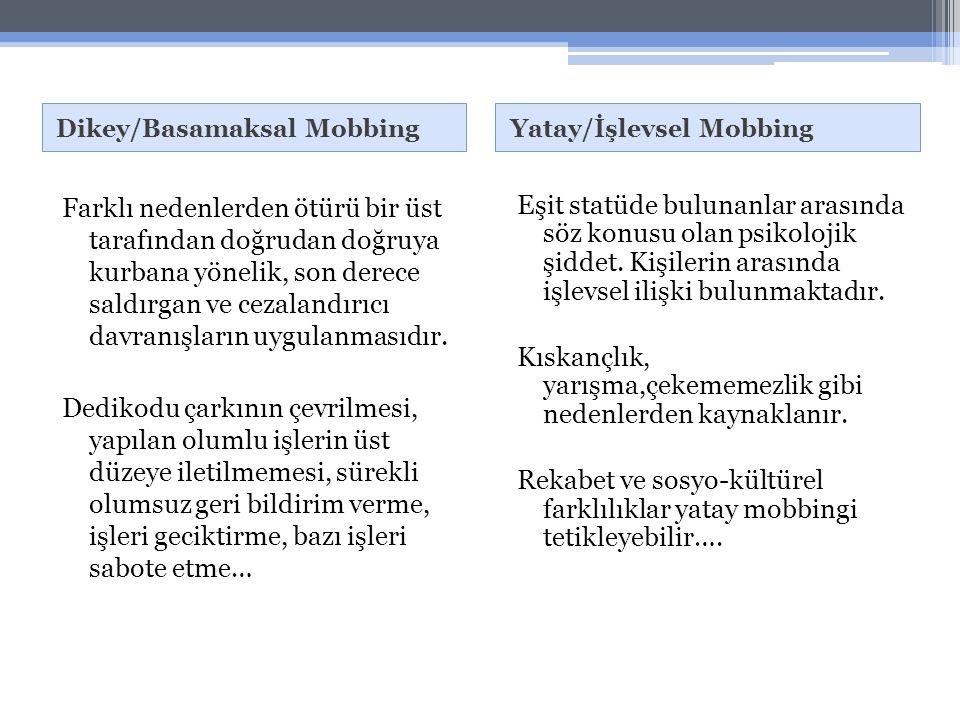 Dikey/Basamaksal MobbingYatay/İşlevsel Mobbing Farklı nedenlerden ötürü bir üst tarafından doğrudan doğruya kurbana yönelik, son derece saldırgan ve cezalandırıcı davranışların uygulanmasıdır.