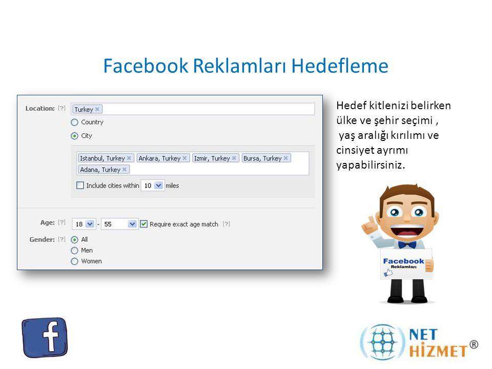 Facebook Reklamları Hedefleme Hedef kitlenizi, anahtar kelimelerinizi kullanarak ilgi alanlarına göre belirleyebilirsiniz