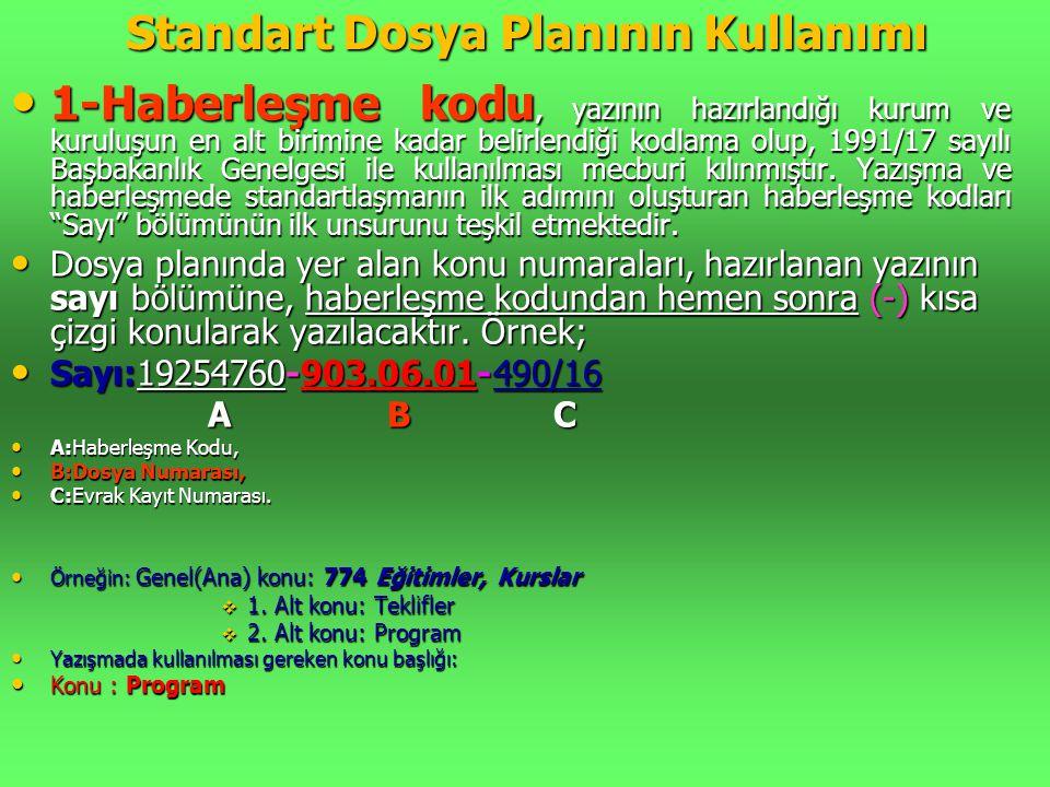Standart Dosya Planının Kullanımı • 1-Haberleşme kodu, yazının hazırlandığı kurum ve kuruluşun en alt birimine kadar belirlendiği kodlama olup, 1991/1