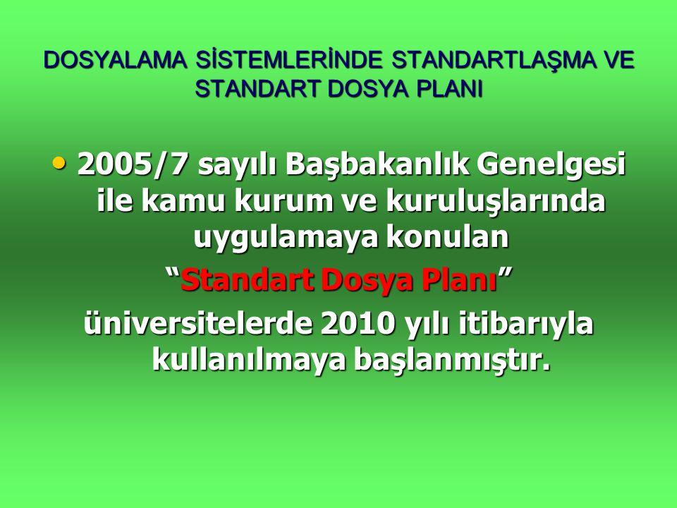 DOSYALAMA SİSTEMLERİNDE STANDARTLAŞMA VE STANDART DOSYA PLANI • 2005/7 sayılı Başbakanlık Genelgesi ile kamu kurum ve kuruluşlarında uygulamaya konula