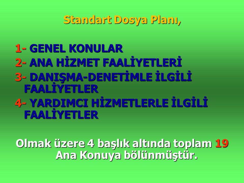 Standart Dosya Planı, 1- GENEL KONULAR 2- ANA HİZMET FAALİYETLERİ 3- DANIŞMA-DENETİMLE İLGİLİ FAALİYETLER 4- YARDIMCI HİZMETLERLE İLGİLİ FAALİYETLER O