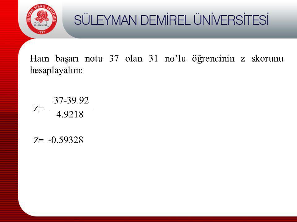 Z= Ham başarı notu 37 olan 31 no'lu öğrencinin z skorunu hesaplayalım: 37-39.92 4.9218 Z= -0.59328