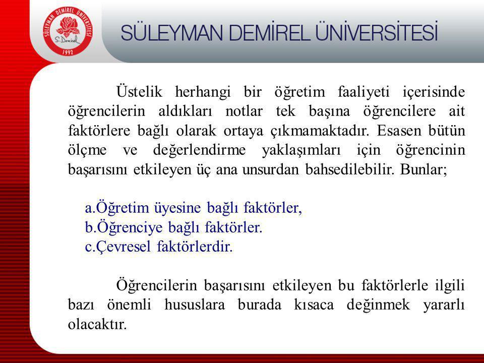 Öğretim Üyesine Bağlı Faktörler a) Öğrenci ile iletişim kurabilme yeteneği 1.