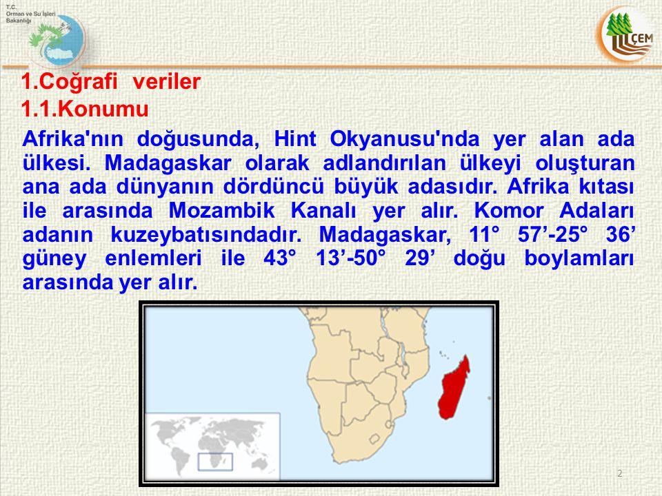 1.Coğrafi veriler 1.1.Konumu Afrika'nın doğusunda, Hint Okyanusu'nda yer alan ada ülkesi. Madagaskar olarak adlandırılan ülkeyi oluşturan ana ada düny