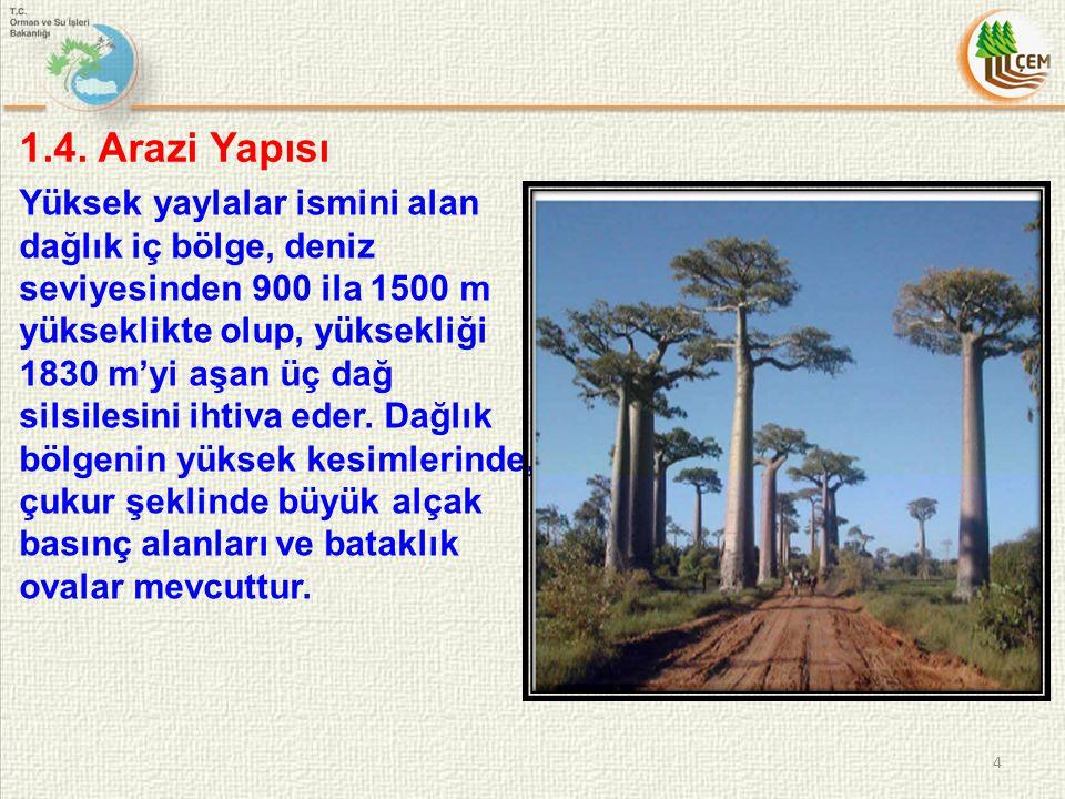 1.4. Arazi Yapısı 4 Yüksek yaylalar ismini alan dağlık iç bölge, deniz seviyesinden 900 ila 1500 m yükseklikte olup, yüksekliği 1830 m'yi aşan üç dağ