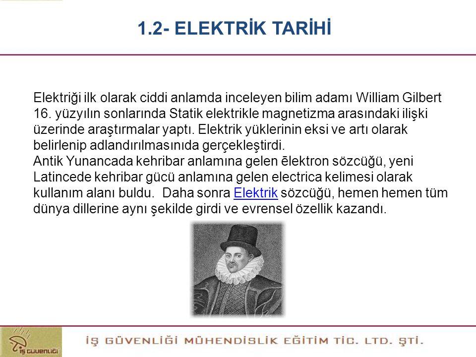 Elektriği ilk olarak ciddi anlamda inceleyen bilim adamı William Gilbert 16. yüzyılın sonlarında Statik elektrikle magnetizma arasındaki ilişki üzerin