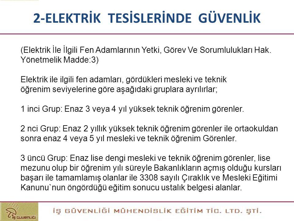 (Elektrik İle İlgili Fen Adamlarının Yetki, Görev Ve Sorumlulukları Hak. Yönetmelik Madde:3) Elektrik ile ilgili fen adamları, gördükleri mesleki ve t