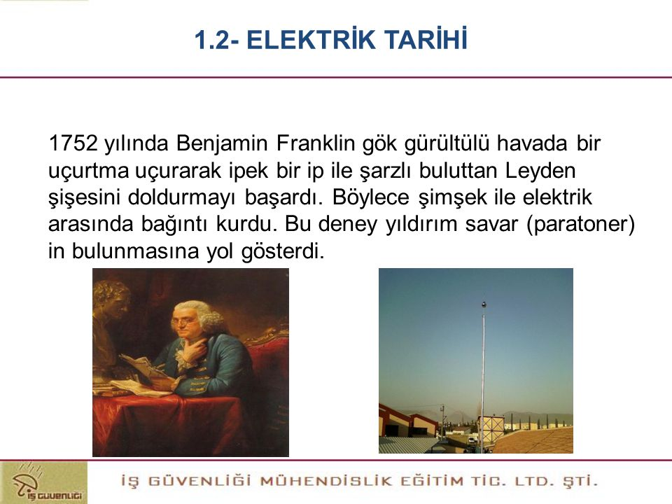 1752 yılında Benjamin Franklin gök gürültülü havada bir uçurtma uçurarak ipek bir ip ile şarzlı buluttan Leyden şişesini doldurmayı başardı. Böylece ş