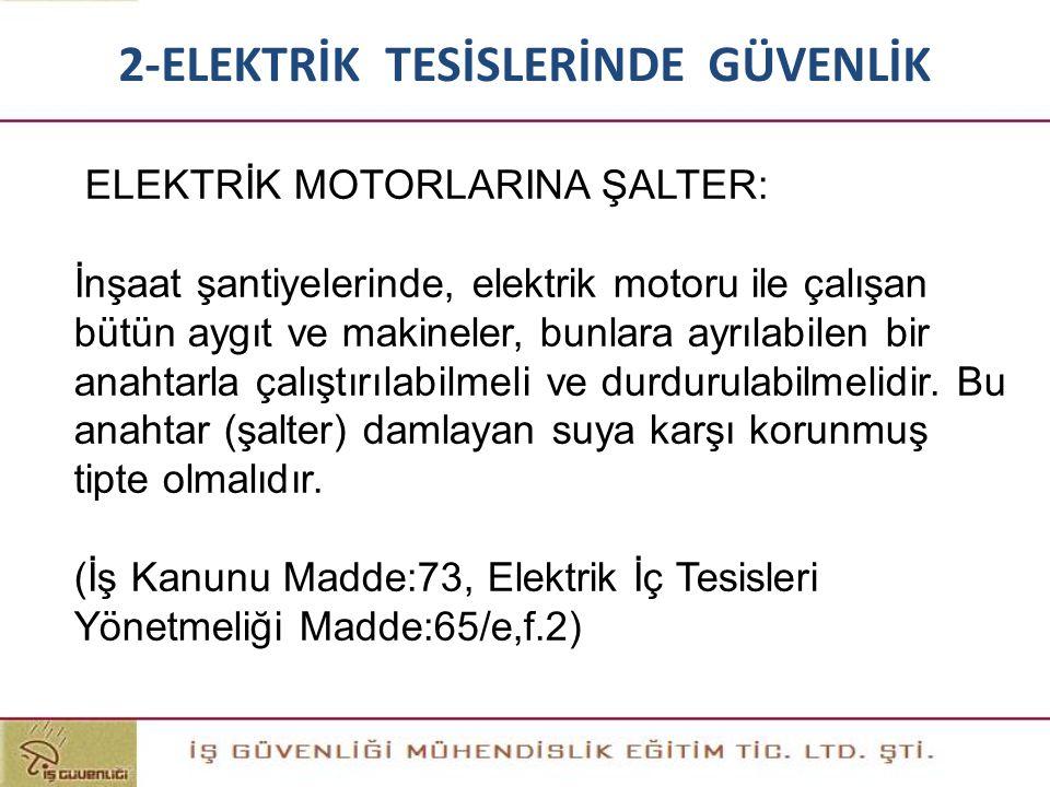 ELEKTRİK MOTORLARINA ŞALTER: İnşaat şantiyelerinde, elektrik motoru ile çalışan bütün aygıt ve makineler, bunlara ayrılabilen bir anahtarla çalıştırıl