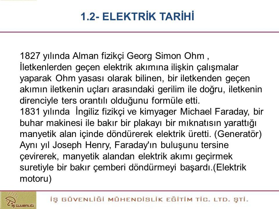 1827 yılında Alman fizikçi Georg Simon Ohm, İletkenlerden geçen elektrik akımına ilişkin çalışmalar yaparak Ohm yasası olarak bilinen, bir iletkenden