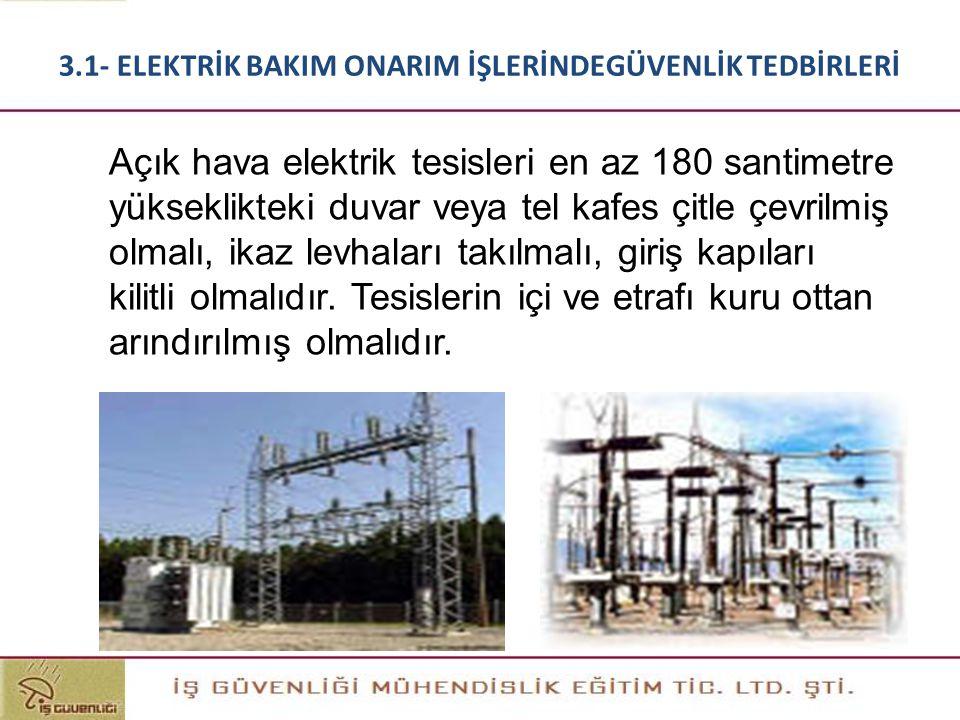 Açık hava elektrik tesisleri en az 180 santimetre yükseklikteki duvar veya tel kafes çitle çevrilmiş olmalı, ikaz levhaları takılmalı, giriş kapıları