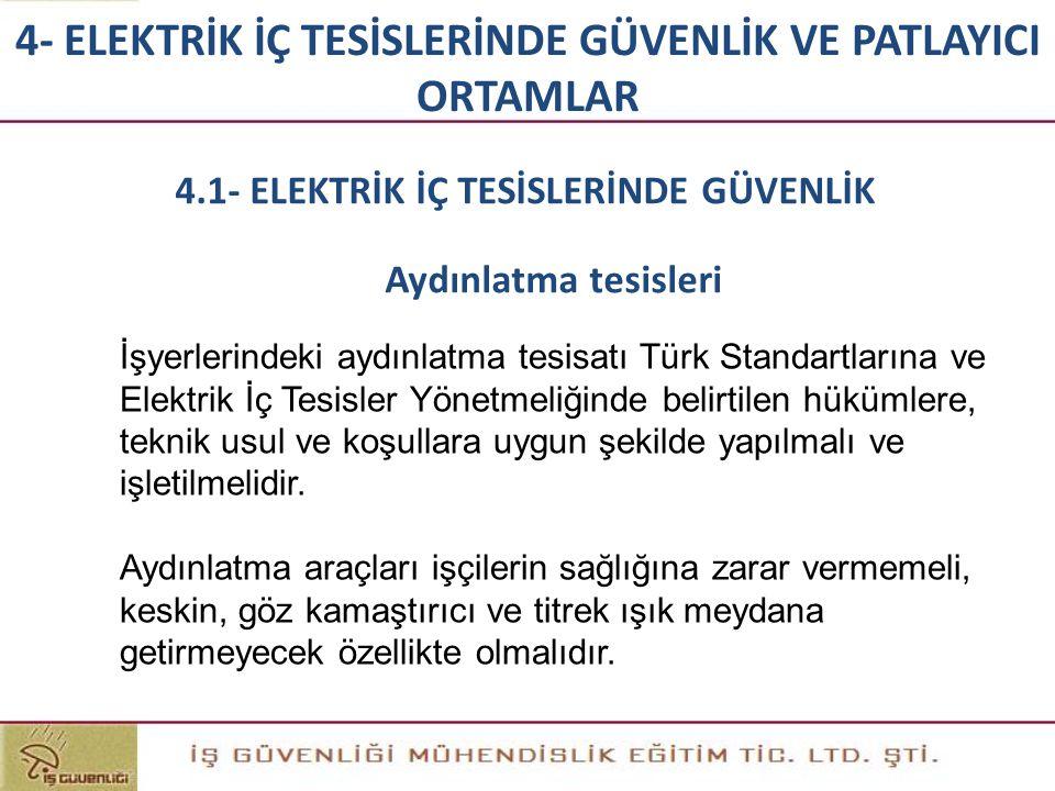 4- ELEKTRİK İÇ TESİSLERİNDE GÜVENLİK VE PATLAYICI ORTAMLAR İşyerlerindeki aydınlatma tesisatı Türk Standartlarına ve Elektrik İç Tesisler Yönetmeliğin
