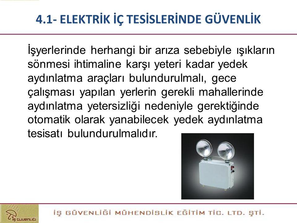 İşyerlerinde herhangi bir arıza sebebiyle ışıkların sönmesi ihtimaline karşı yeteri kadar yedek aydınlatma araçları bulundurulmalı, gece çalışması yap