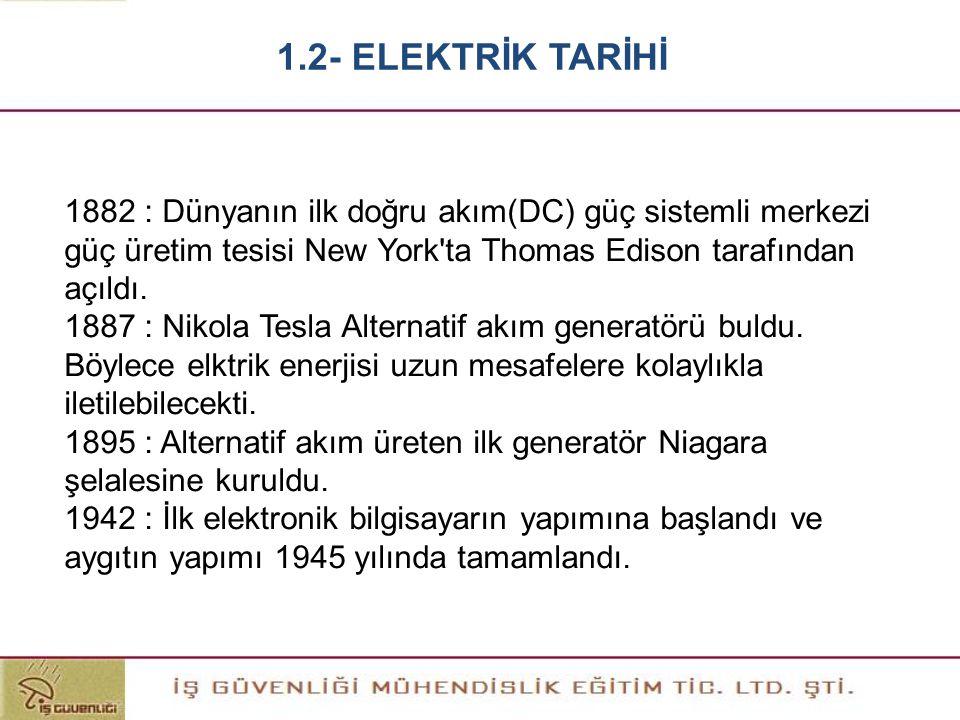 1882 : Dünyanın ilk doğru akım(DC) güç sistemli merkezi güç üretim tesisi New York'ta Thomas Edison tarafından açıldı. 1887 : Nikola Tesla Alternatif