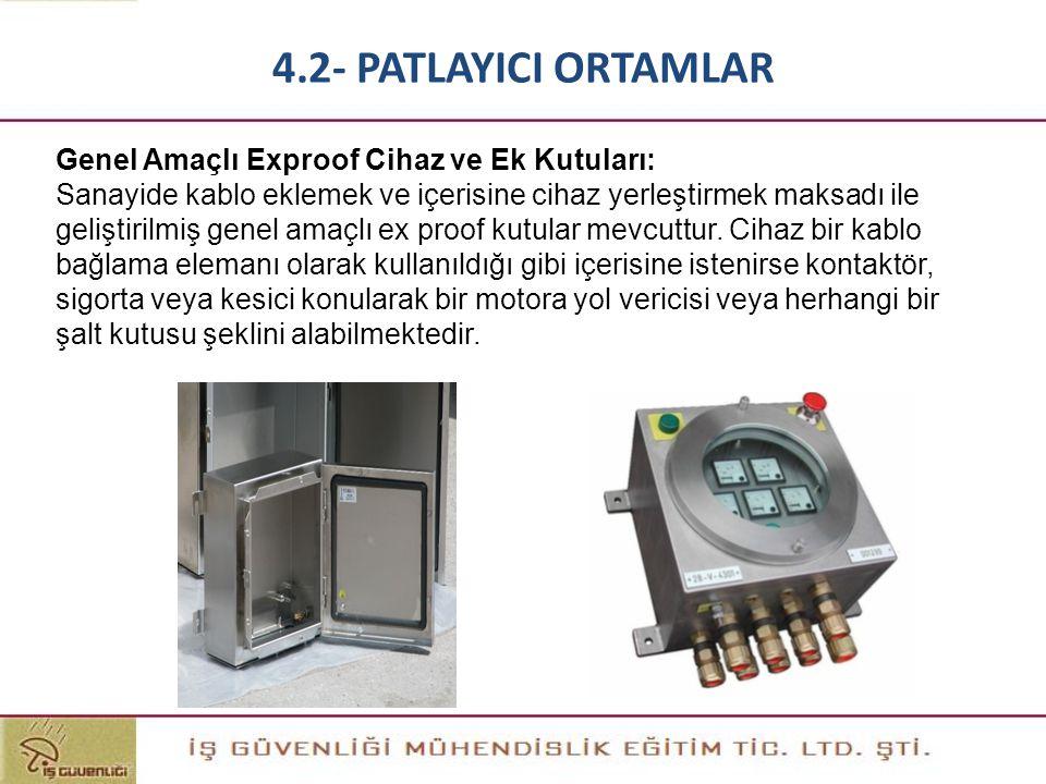 Genel Amaçlı Exproof Cihaz ve Ek Kutuları: Sanayide kablo eklemek ve içerisine cihaz yerleştirmek maksadı ile geliştirilmiş genel amaçlı ex proof kutu