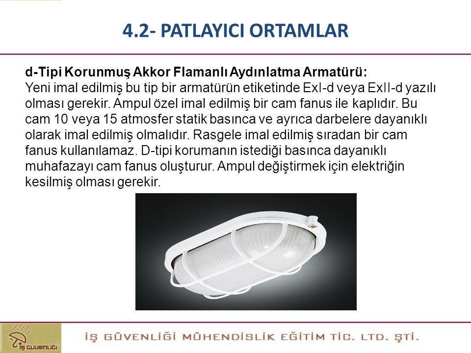 d-Tipi Korunmuş Akkor Flamanlı Aydınlatma Armatürü: Yeni imal edilmiş bu tip bir armatürün etiketinde ExI-d veya ExII-d yazılı olması gerekir. Ampul ö