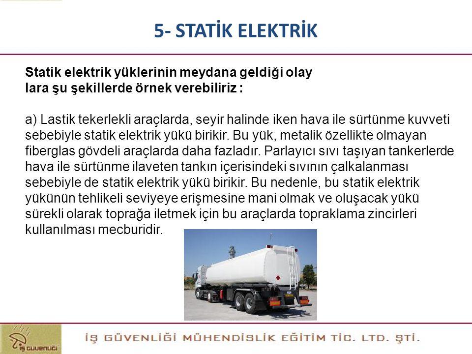 Statik elektrik yüklerinin meydana geldiği olay lara şu şekillerde örnek verebiliriz : a) Lastik tekerlekli araçlarda, seyir halinde iken hava ile sür