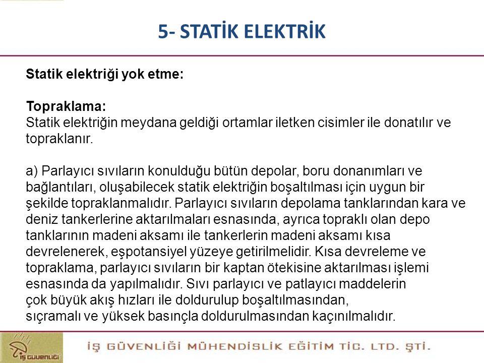 Statik elektriği yok etme: Topraklama: Statik elektriğin meydana geldiği ortamlar iletken cisimler ile donatılır ve topraklanır. a) Parlayıcı sıvıları