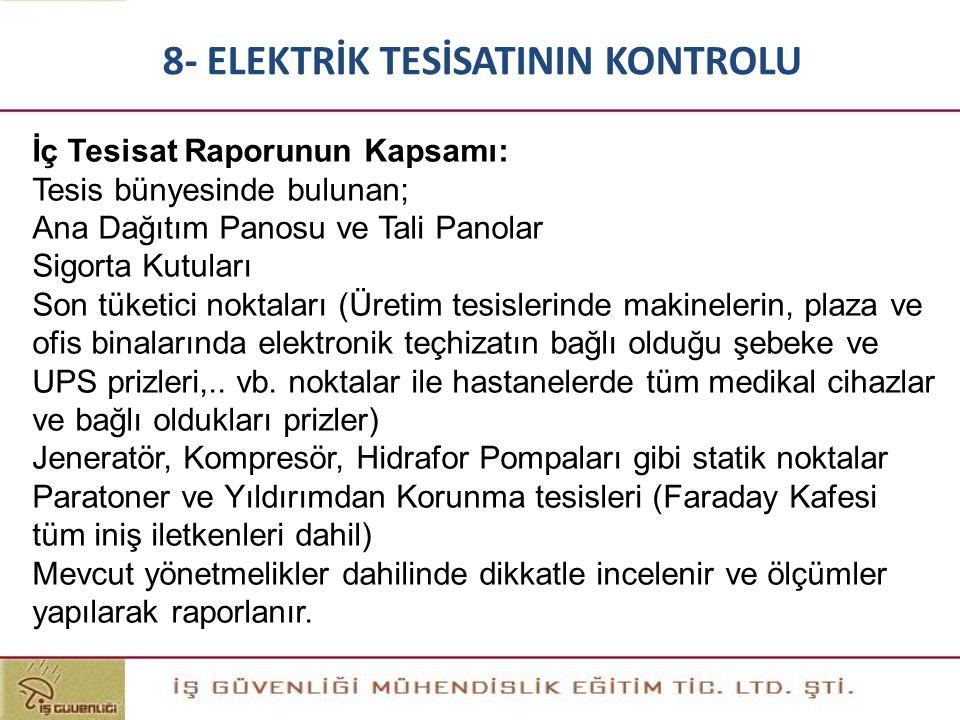 İç Tesisat Raporunun Kapsamı: Tesis bünyesinde bulunan; Ana Dağıtım Panosu ve Tali Panolar Sigorta Kutuları Son tüketici noktaları (Üretim tesislerind
