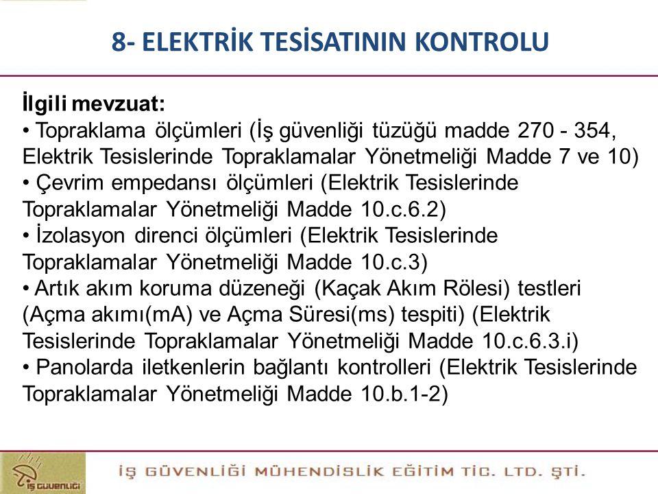 İlgili mevzuat: • Topraklama ölçümleri (İş güvenliği tüzüğü madde 270 - 354, Elektrik Tesislerinde Topraklamalar Yönetmeliği Madde 7 ve 10) • Çevrim e