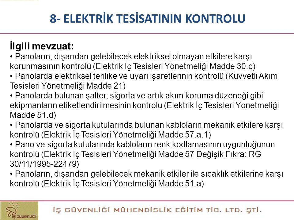İlgili mevzuat: • Panoların, dışarıdan gelebilecek elektriksel olmayan etkilere karşı korunmasının kontrolü (Elektrik İç Tesisleri Yönetmeliği Madde 3