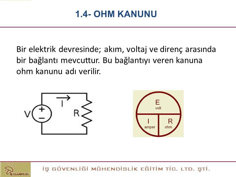 Bir elektrik devresinde; akım, voltaj ve direnç arasında bir bağlantı mevcuttur. Bu bağlantıyı veren kanuna ohm kanunu adı verilir. 1.4- OHM KANUNU