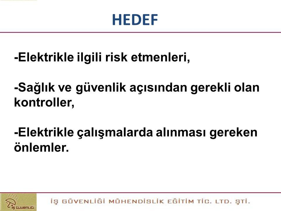 HEDEF -Elektrikle ilgili risk etmenleri, -Sağlık ve güvenlik açısından gerekli olan kontroller, -Elektrikle çalışmalarda alınması gereken önlemler.