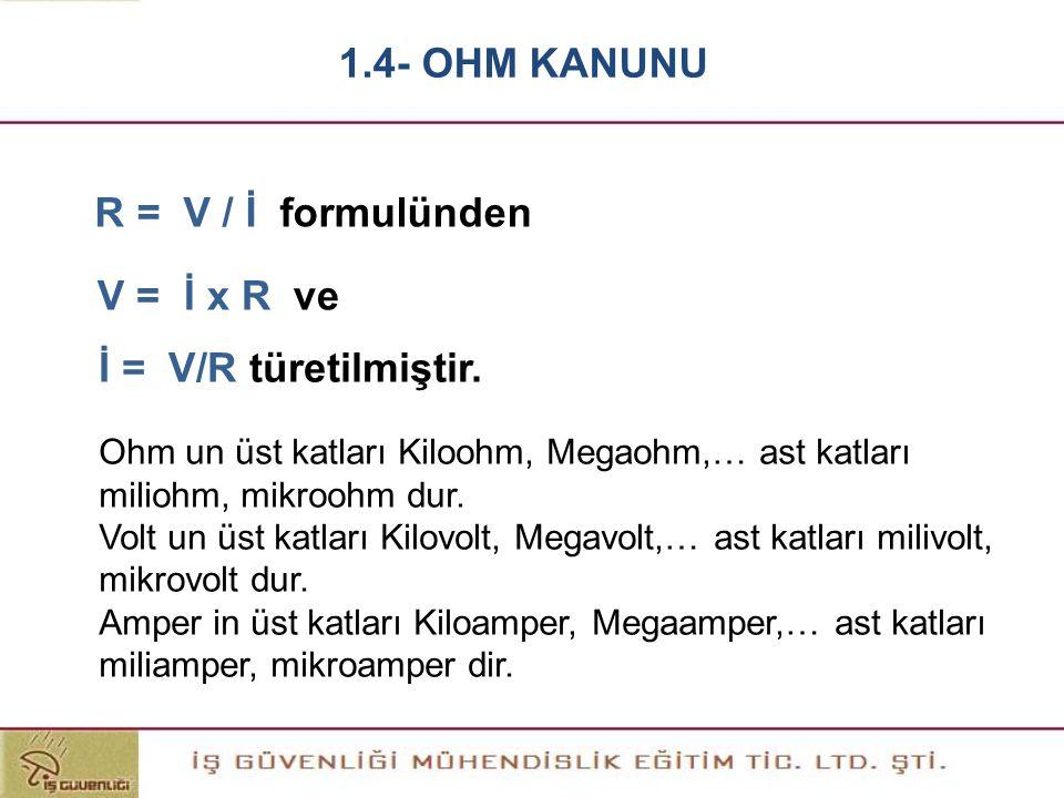 R = V / İ formulünden Ohm un üst katları Kiloohm, Megaohm,… ast katları miliohm, mikroohm dur. Volt un üst katları Kilovolt, Megavolt,… ast katları mi