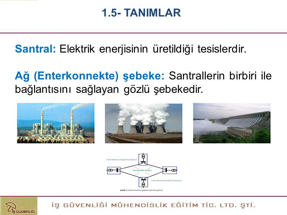 Santral: Elektrik enerjisinin üretildiği tesislerdir. Ağ (Enterkonnekte) şebeke: Santrallerin birbiri ile bağlantısını sağlayan gözlü şebekedir. 1.5-